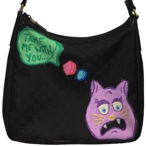 "GUCCI Nylon Tote w/JPO Graffiti Art ""Scardy Cat""!"